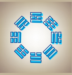 Bagua sign sky blue icon with defected vector