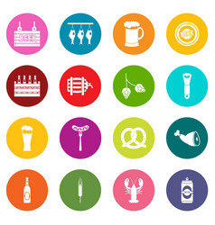 beer icons many colors set vector image
