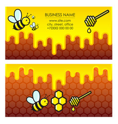 Bees and honey business card vector