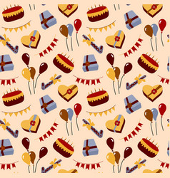 birthday theme seamless pattern colorful detailed vector image
