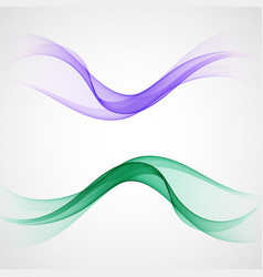 blue and green wave set of design element vector image