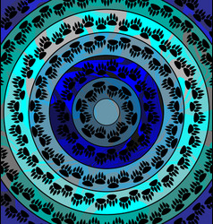Blue color image of circles consisting of lines vector