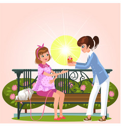 Cartoon couple sitting on bench in park vector