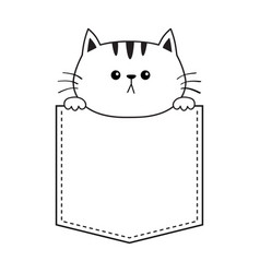 Cat in the pocket holding hands doodle contour vector