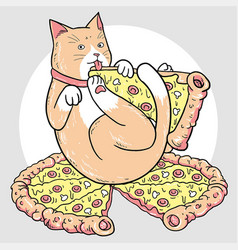 cat pizza vector image