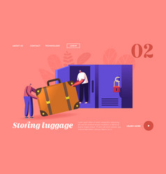 Characters keeping baggage landing page template vector