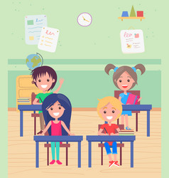 Classroom with pupils sitting desks school vector