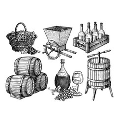 Collection sketch picture wine set vector
