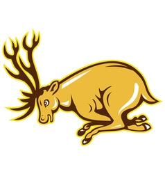 Deer charging side cartoon vector