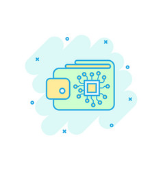 digital wallet icon in comic style crypto bag vector image