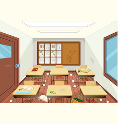 Dirty wooden classroom interior vector