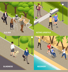disabled injured isometric concept vector image