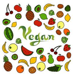 doodle background with the word vegan vector image