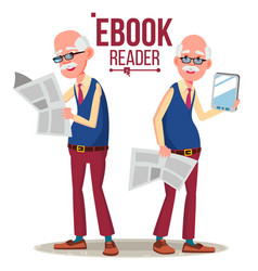e-book reader old man paper book vs e vector image