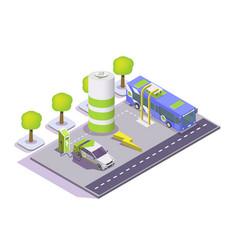 electric eco transport flat isometric vector image