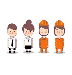 fireman wearing orange helmet and office worker vector image