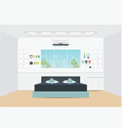 Flat design double bedroom with furniture vector