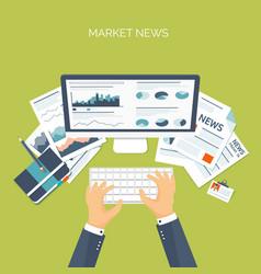 Flat header online market vector