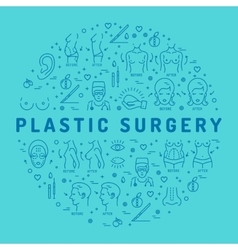 Flat infographics Plastic Surgery Beauty and vector image
