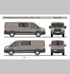 Ford transit combi delivery van mwb l2h1 2014-2018 vector