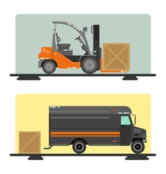 Forklift Truck Delivery Logistics Industry Cargo vector