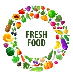 fresh food logo design template fruits and vector image