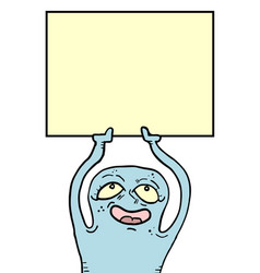 Funny puppet with placard vector