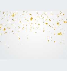Golden confetti falling on white background vector