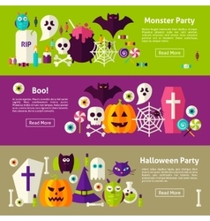 Halloween Party Web Horizontal Banners vector image