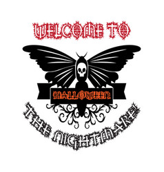 Halloween t-shirt design with butterfly vector