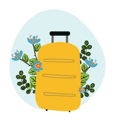 hand drawn travel bag with flowers vector image