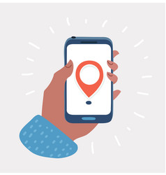 hand holds smartphone with city map gps navigator vector image