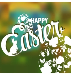 happy easter typographical background with ornate vector image