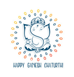 Happy ganesh chaturthi festival greeting vector