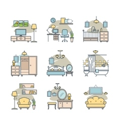Home room icons set vector image