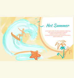 hot summer banner with man on surfboard and palms vector image