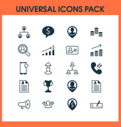 Hr icons set with woman resume money deal and vector