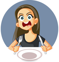 Hungry woman feeling angry and impatient vector