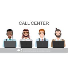 Icons set multiracial male call center vector