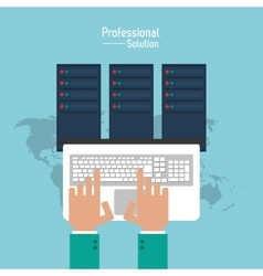 Laptop and data center icon Proffesional Solution vector