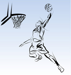 Line sketch of a basketball player vector
