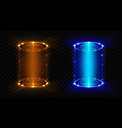 magic portal fantasy futuristic hologram teleports vector image