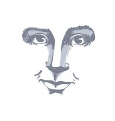 Monochrome art drawing portrait of gorgeous vector