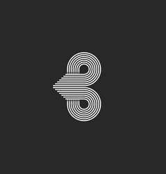 monogram letter b logo initial sleek lines vector image