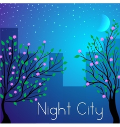 Night city background concept vector