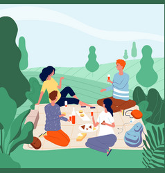 outdoor picnic people happy family in green vector image