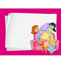 Paper design with girls in pajamas vector