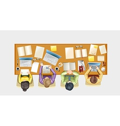 People working on the desk vector