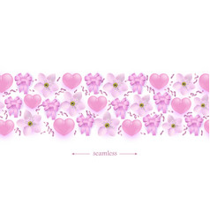 pink hearts flowers and ribbon bows seamless vector image
