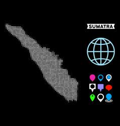 Pixel halftone sumatra island map vector